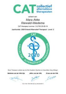 Jaarlicentie CAT Collectief voor Alternatieve Therapeuten 2020 Mara Akke Riewald